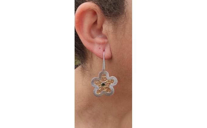 SK 397sm Handmade silver earrings with enamel