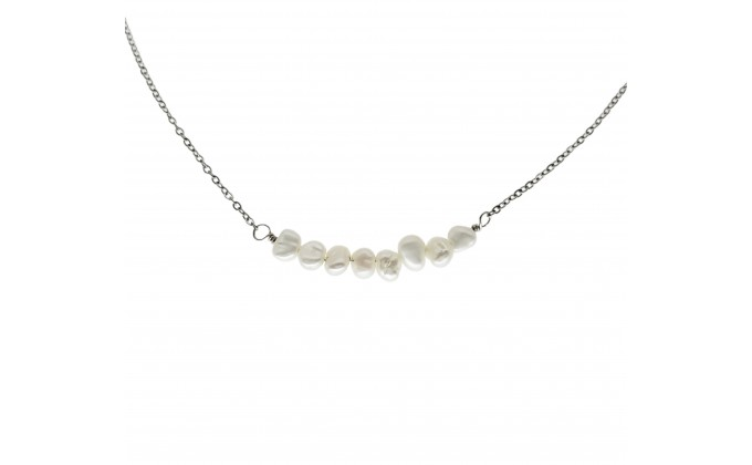 SS 3 STEEL NECKLACE PEARLS