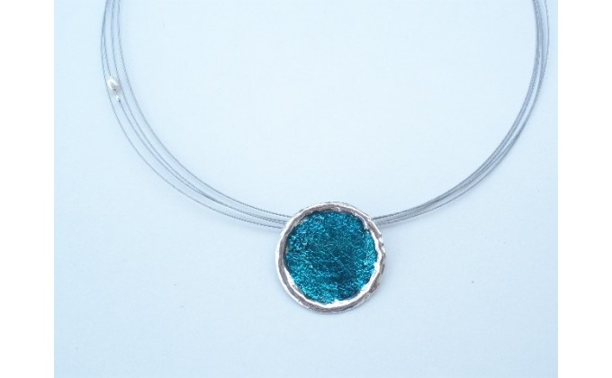 M 7sm Handmade silver pendant with enamel