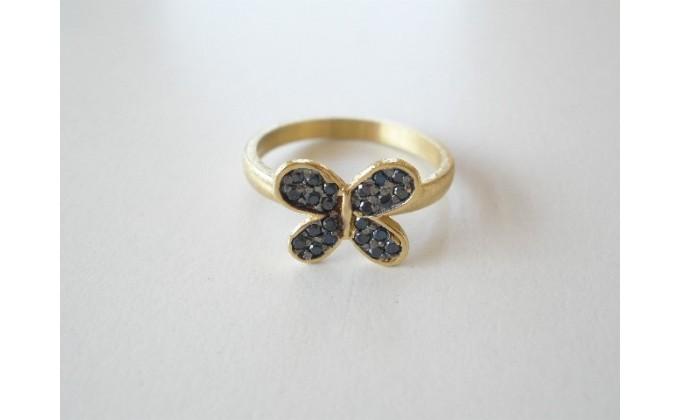 D 293 Silver ring gilded zirgon