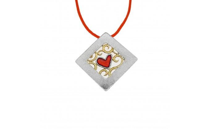 M399sm Handmade silver pendant with enamel