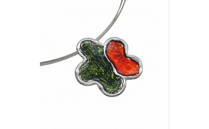 M 102sm Handmade silver pendants with enamel