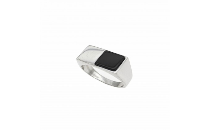 D 391 SOLID SILVER RING WITH ONYX