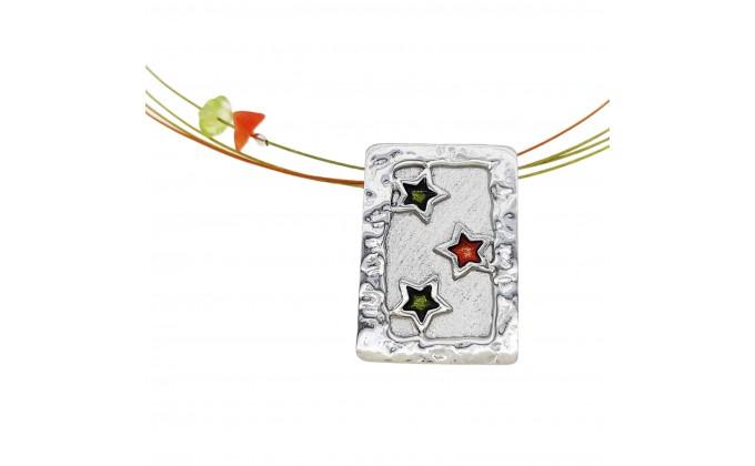 Handmade silver pendants with enamel