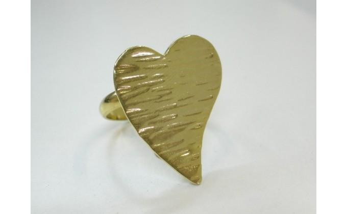 """D 20 Handmade silver ring gilded """"HEART"""""""