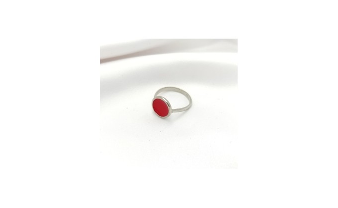 D 210 Sterling silver ring enamel red